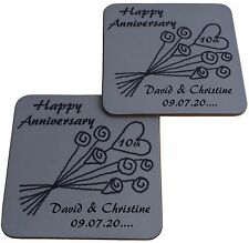 Personalised 10th Wedding Anniversary Pair of Coasters  (Tin Anniversary)
