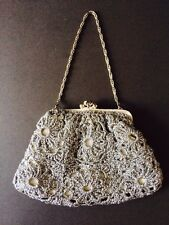 VINTAGE EVENING PURSE HAND BAG CROCHET KNIT LUREX SILVER CHAIN HANDLE