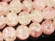 A3341C 40 x Hell Rosa Glasperlen 8mm Kugel Crackle Glas Beads Perlen Crash Pink