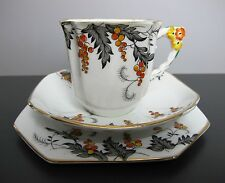 VINTAGE Art Deco Royal Stafford BONE CHINA Autunno Trio da tè: tazza, piattino & PIASTRA.