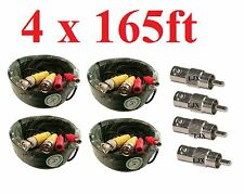 4 lot 165ft Security Camera Cable CCTV Video Power Wire BNC RCA Black Cord DVR