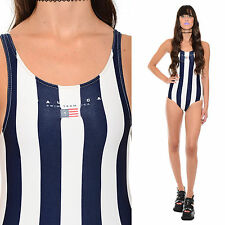 Vintage 90s Striped NAUTICA Sporty Logo Flag USA Cutout One-Piece Swimsuit XS