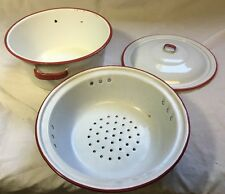 Vintage White w/ Red Trim Enamel Colander strainer/pan/lid enamelware Farm Decor