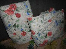 VINTAGE SPRINGS WILDFLOWERS POPPIES BLUE FLORAL (2PC) QUEEN & FITTED FLAT SHEET