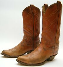 MENS VINTAGE TONY LAMA RANCH WORN BRN LEATHER COWBOY WESTERN BOOTS SZ 8.5~1/2 D