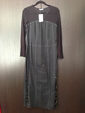 BRAND NEW Promod Black Mesh Sleeves Maxi Dress Size USA 12