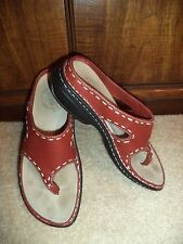 Merrell Womens Tetra Plunge Red Bean Brown Leather Thong Sandals 6 SAME DAY SHIP