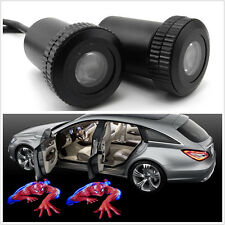 Car Door 3D SpiderMan Badge Emblem logo Laser Projector Welcome LED Light 2 pcs