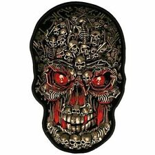 SKULL MADE OF SKULLS Embroidered Biker Motorcycle MC Vest BACK PATCH LRG-0056