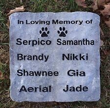 """Large 11"""" X 11"""" Multiple Name Personalized Pet Memorial Marker / Headstone"""