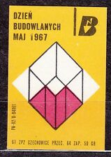 POLAND 1967 Matchbox Label - Cat.Z#785 II Building Day - May 1967.