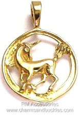 Unicorn Charm  Circular Pendant EP 24k Gold Plated with Lifetime Guarantee!