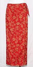 Lauren Ralph Lauren Red Beige Floral Long Silk Linen Blend Wrap Skirt Size 6