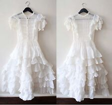Vintage 1920s 1890s Antique Edwardian Victorian Ruffle Sheer Wedding Dress Xs