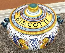 Deruta Pottery-Biscotti Jar Raffaellesco,Made/painted by hand-Italy.
