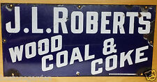 RARE Antique J.L. Roberts Wood Coal&Coke 1890's Blue&White Porcelain Sign Boston