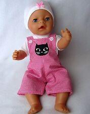 Puppenbekleidung  Latzhosen Set für Baby Born 43/ Krümel 3-Teilig -Katze-