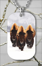 BUFFALO AMERICAN WILD IN SNOWY WINTER DOG TAG NECKLACE PENDANT FREE CHAIN -pmn8Z