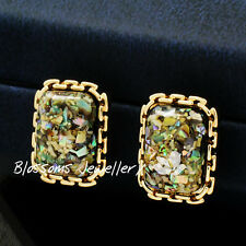 Vintage Style Yellow GOLD GF Ladies EARRINGS ABALONE Shell LEAVES Inside  M6606