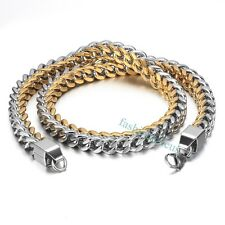10MM Heavy Gold&Silver Polished Stainless Steel Wheat Chain Men's Necklace 231g