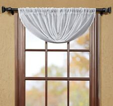 WHITE SHEER DOBBY WEAVE BALLOON VALANCE 60X15 UNLINED STITCHING PATTERN