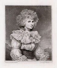 "Pretty 1800s JOSHUA REYNOLDS Engraving ""Lady Elizabeth Foster"" SIGNED Framed COA"