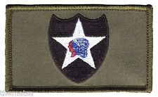 ARMY 2ND INFANTRY 2 X 3  EMBROIDERED OD GREEN PATCH WITH HOOK LOOP