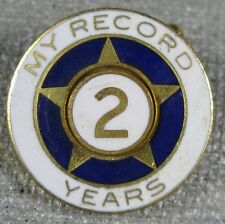 Vintage 1950's My Record 2 Years Lapel Pin