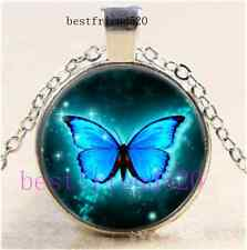 Glowing Butterfly Cabochon Glass Tibet Silver Chain Pendant Necklace