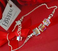 925 STERLING SILVER CHAIN BRACELET SWAROVSKI Elements CUBE CRYSTAL AB 6mm