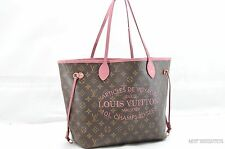 Auth Louis Vuitton Monogram Ikat Flower Neverfull MM Tote Bag Rose Velours 25483