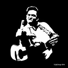 Johny Cash Flipping the Bird Singer Window Decal Sticker Oracal Vinyl White