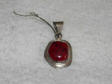 Vintage CORAL Stone Silver PENDANT For Necklace Used