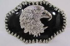 NEW SILVER METAL COWBOY WESTERN FASHION 3D LARGE BELT BUCKLE BIG EAGLE HEAD FACE