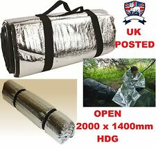 HIGHLANDER THERMAL FOIL SURVIVAL BLANKET FOAM BACK =SLEEPING ROLL MAT+FISH HIKE