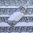 1x Pretty 3D Black Lace Flower Nail Art Stickers Manicure Decals Tips Decoration