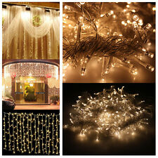 300 2400 LED Fairy curtains String light fr Xmas Wedding party Connectable 110v