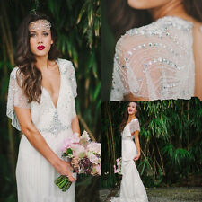 Luxury Beach Wedding Dresses Boho Bohemian Bead Crystals Cap Sleeve Bridal Gowns