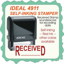 RECEIVED, Trodat / Ideal Custom Made Self Inking Rubber Stamp, 4911 Red Ink