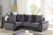 CORNER SOFA SUITES SETTEE GRAY CHARCOAL FABRIC 3 2 SEATER ARMCHAIR LEATHER