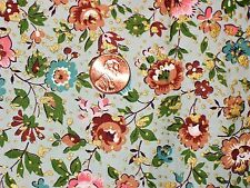 """40's-50's VTG WAVERLY BONDED GLOSHEEN COTTON FABRIC """"PERRIWIG"""" FLORAL 36""""W BTY"""