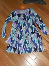 "NWT- Gymboree ""Mix n Match"" long sleeved purple & blue hearts dress - 4T girls"