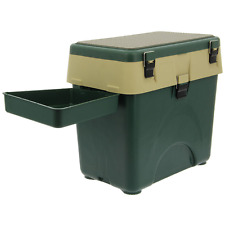 GREEN + YELLOW FISHING TACKLE SEAT BOX SYSTEM WITH SIDE TRAY CARP SEA FISHING