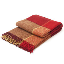"""Throw Plaid Blanket PURE 100% New Zealand Wool ELF Yellow&Red 200x220 79""""x87"""""""