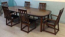 Lane Mid Century Rosewood and Walnut Dining Chairs and Table Modern
