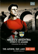 Wales v Argentina 10 Nov 2012 Cardiff RUGBY PROGRAMME