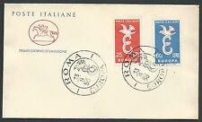 1958 ITALIA FDC CAVALLINO EUROPA NO TIMBRO ARRIVO - V2