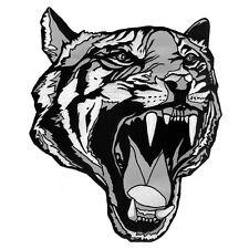 "LARGE TIGER HEAD TATTOO BLACK-WHITE EMBROIDERED IRON-ON PATCH JACKET EMBLEM 12""H"