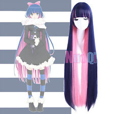Panty & Stocking with Garterbelt Long Straight Blue Pink Mix Cosplay Full Wig