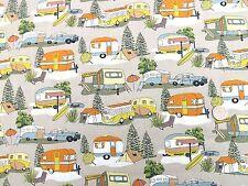 Retro vacances camping cars et caravanes tissu FQ 50x56cm NUTEX 88730-3 100% coton